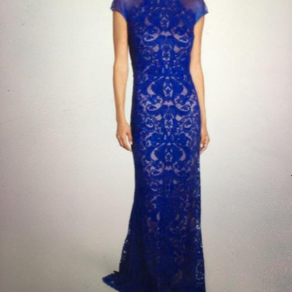 4b4228decc40 Tadashi Shoji Mystic Blue/ Nude Lace Gown, Size 8.  M_5ac91385a44dbee6df81477b